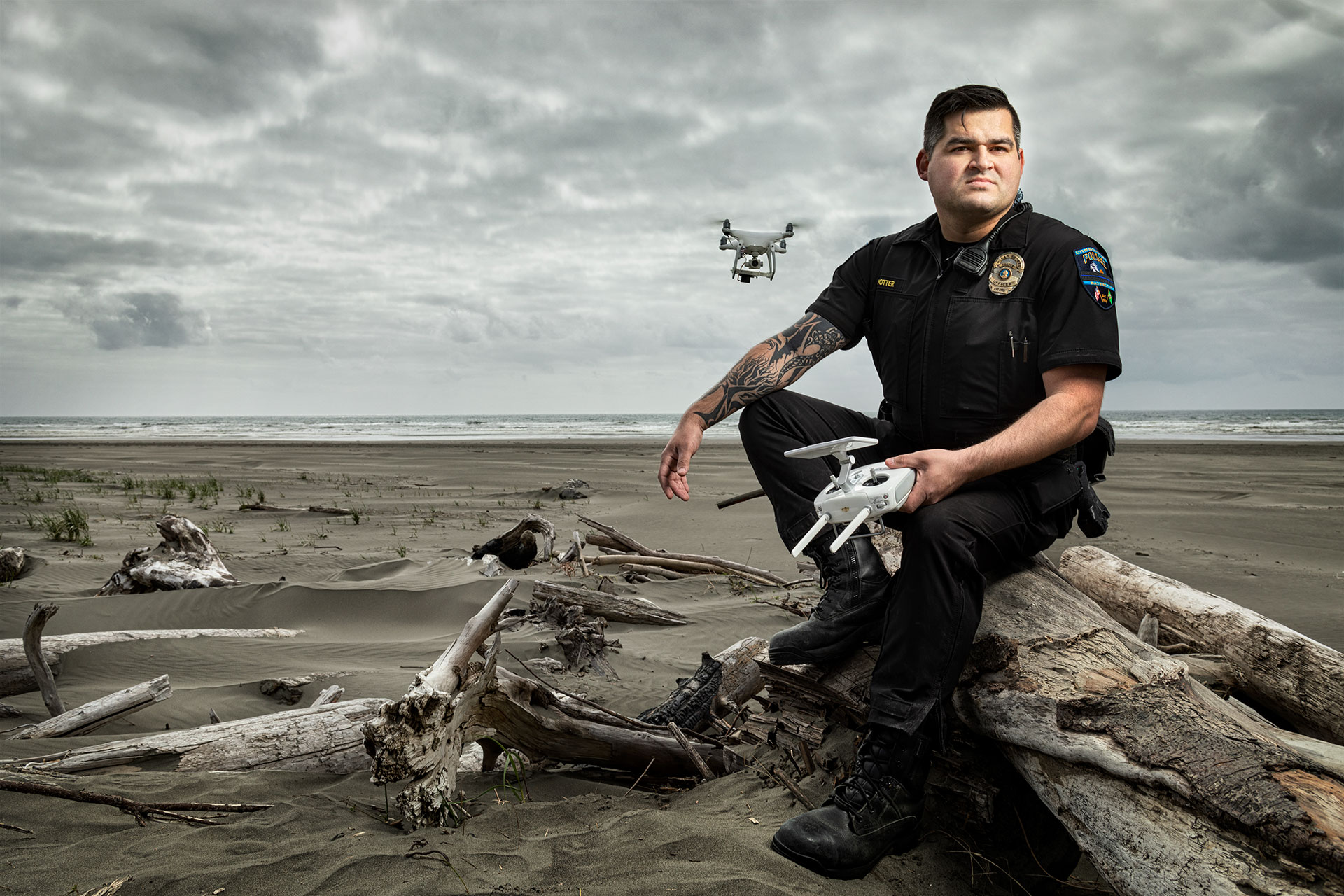 Clint Potter, Magazine Photography, beach police, drone, police news, seattle photographer, rick dahms, environmental portrait, annual report, commercial photographer seattle, headshots seattle